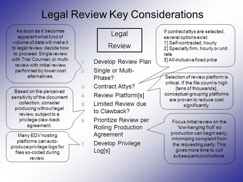Legal Review Key Considerations 1. Develop Review Plan 2. Single or Multi- Phase? 3. Contract Attys? 4. Review Platform[s] 5. Limited Review due to Cl