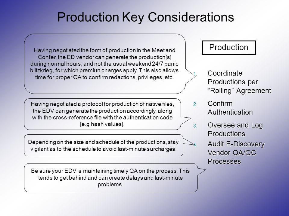 Production Key Considerations 1. Coordinate Productions perRolling Agreement 2. Confirm Authentication 3. Oversee and Log Productions 4. Audit E-Disco