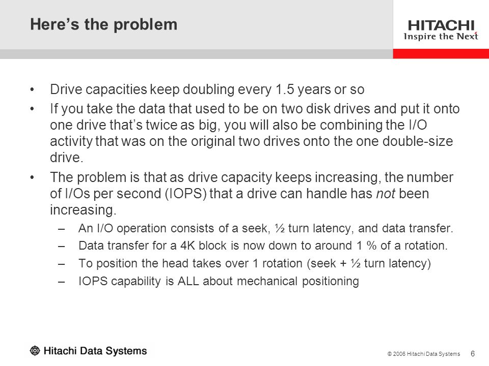 6 © 2006 Hitachi Data Systems Heres the problem Drive capacities keep doubling every 1.5 years or so If you take the data that used to be on two disk