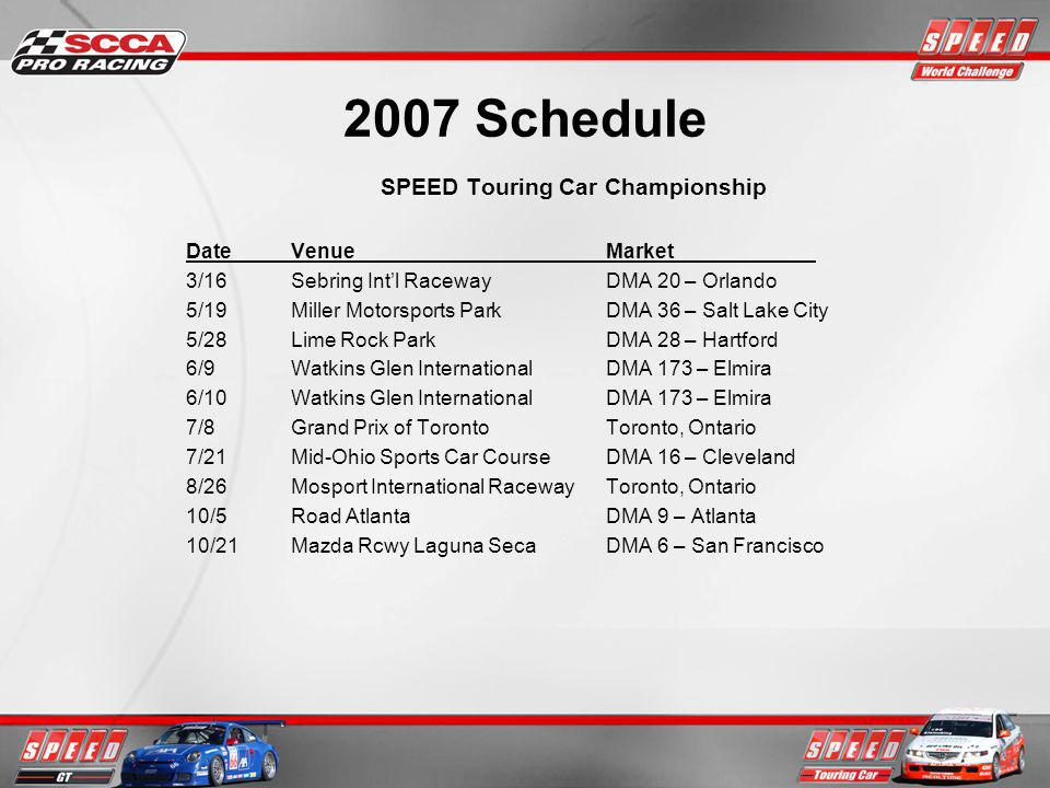 2007 Schedule SPEED Touring Car Championship DateVenueMarket 3/16Sebring Intl RacewayDMA 20 – Orlando 5/19Miller Motorsports ParkDMA 36 – Salt Lake City 5/28Lime Rock ParkDMA 28 – Hartford 6/9Watkins Glen InternationalDMA 173 – Elmira 6/10Watkins Glen InternationalDMA 173 – Elmira 7/8Grand Prix of TorontoToronto, Ontario 7/21Mid-Ohio Sports Car CourseDMA 16 – Cleveland 8/26Mosport International RacewayToronto, Ontario 10/5Road AtlantaDMA 9 – Atlanta 10/21Mazda Rcwy Laguna SecaDMA 6 – San Francisco