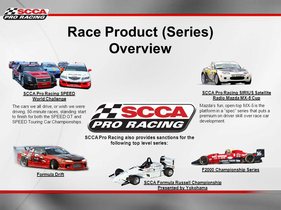Race Product (Series) Overview SCCA Pro Racing SPEED World Challenge The cars we all drive, or wish we were driving.