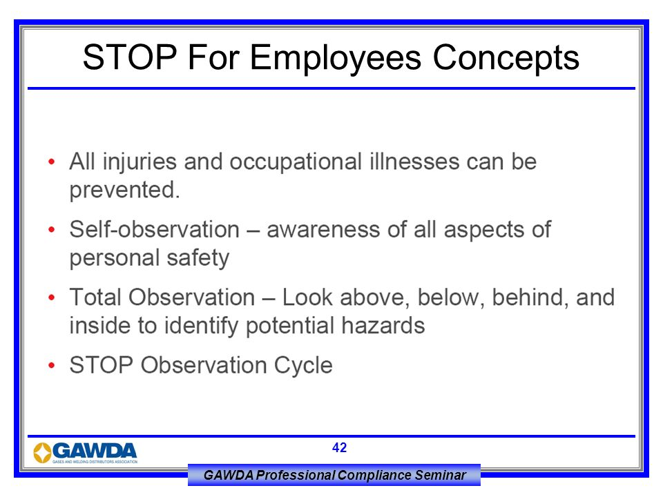 GAWDA Professional Compliance Seminar 42 STOP For Employees Concepts