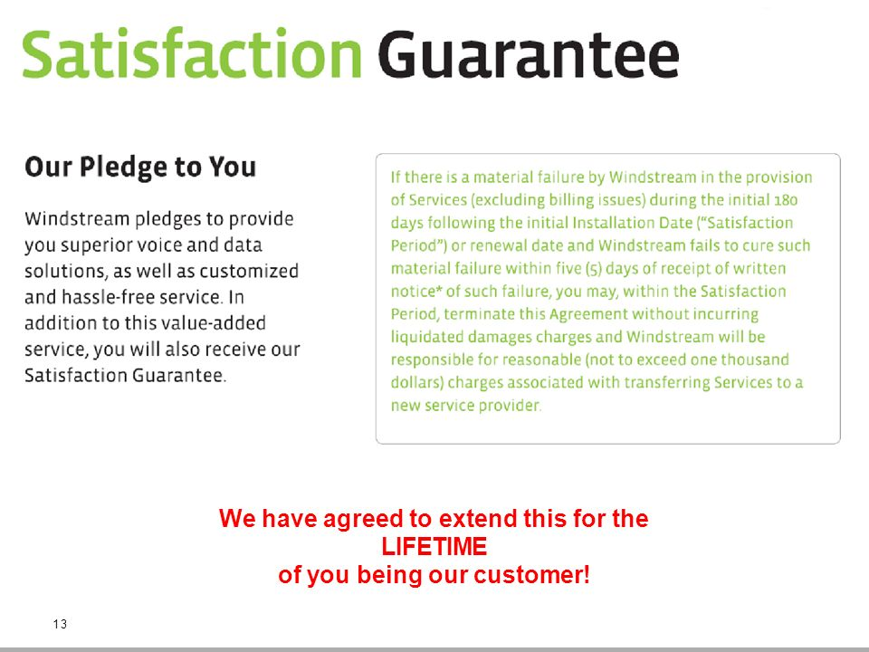 We have agreed to extend this for the LIFETIME of you being our customer! 13