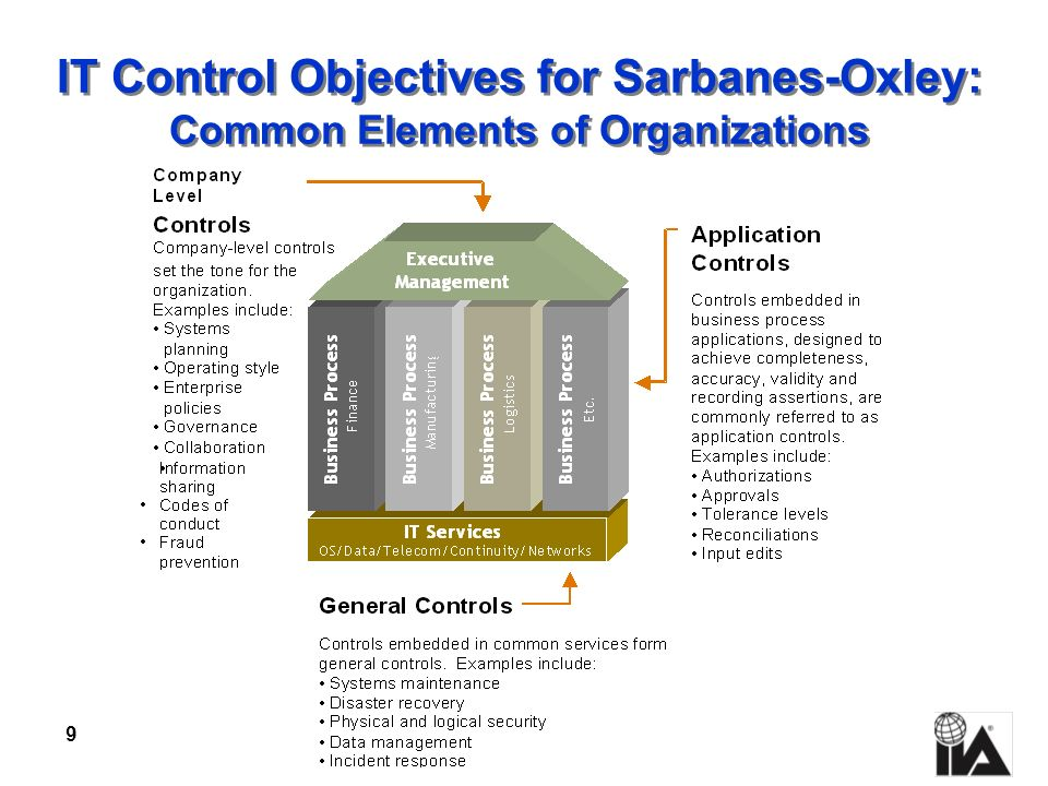 9 IT Control Objectives for Sarbanes-Oxley: Common Elements of Organizations
