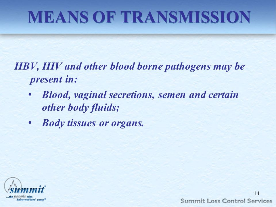 Click to edit Master text styles –Second level Third level –Fourth level »Fifth level MEANS OF TRANSMISSION HBV, HIV and other blood borne pathogens m