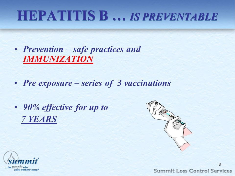Click to edit Master text styles –Second level Third level –Fourth level »Fifth level HEPATITIS B … IS PREVENTABLE Prevention – safe practices and IMM