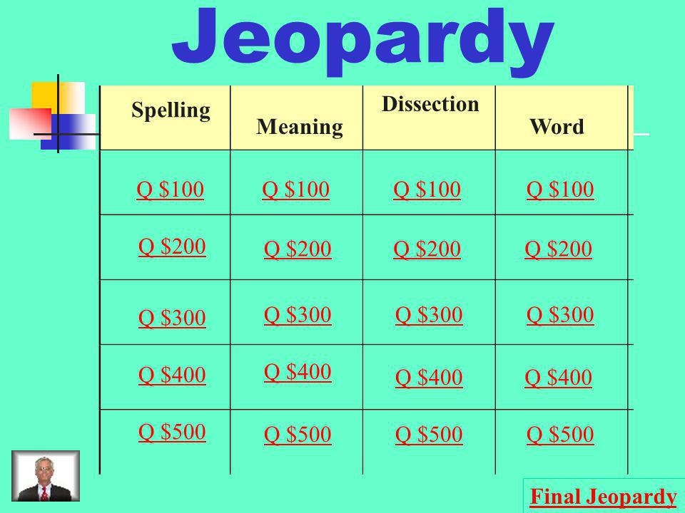 Jeopardy Spelling Meaning Dissection Word Q $100 Q $200 Q $300 Q $400 Q $500 Q $100 Q $200 Q $300 Q $400 Q $500 Final Jeopardy