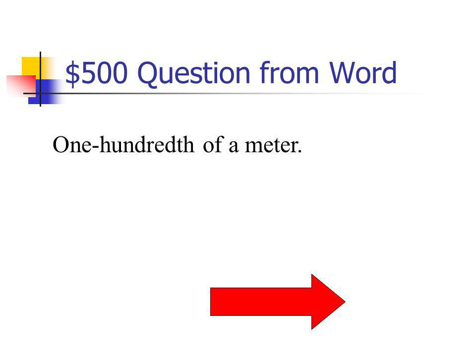 $400 Answer from Word What is a kilometer?