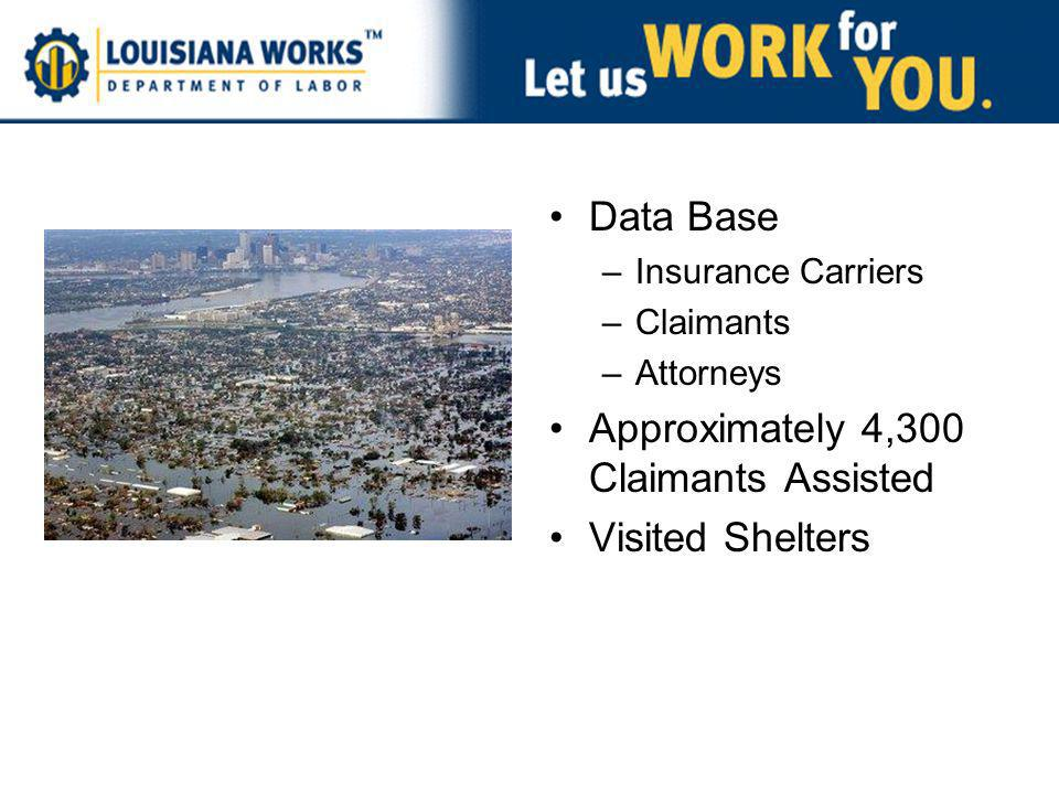 Data Base –Insurance Carriers –Claimants –Attorneys Approximately 4,300 Claimants Assisted Visited Shelters