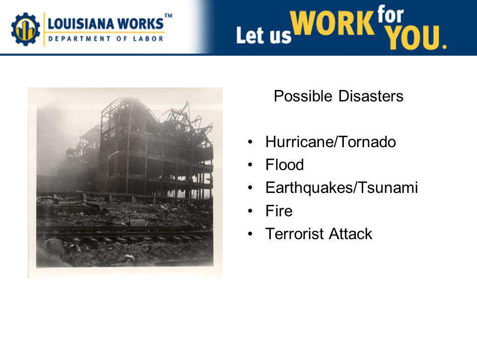 Possible Disasters Hurricane/Tornado Flood Earthquakes/Tsunami Fire Terrorist Attack