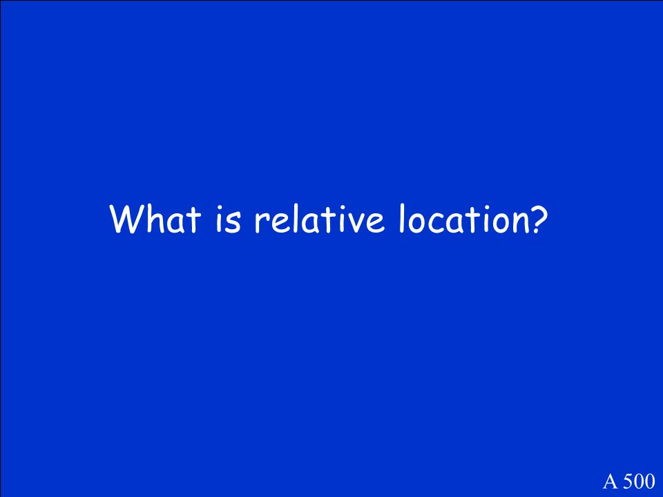 This term refers to the way a places location is perceived. A 500