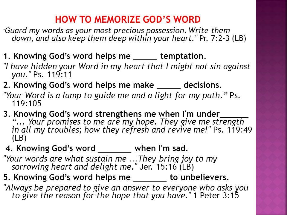 HOW TO MEMORIZE GODS WORD