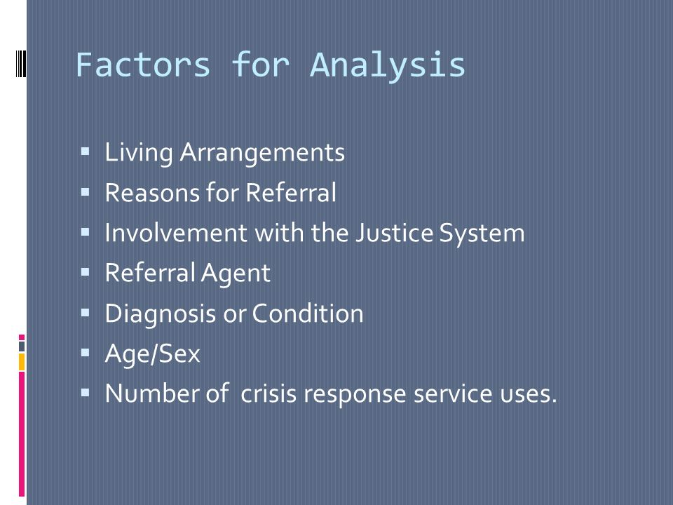 Factors for Analysis Living Arrangements Reasons for Referral Involvement with the Justice System Referral Agent Diagnosis or Condition Age/Sex Number of crisis response service uses.
