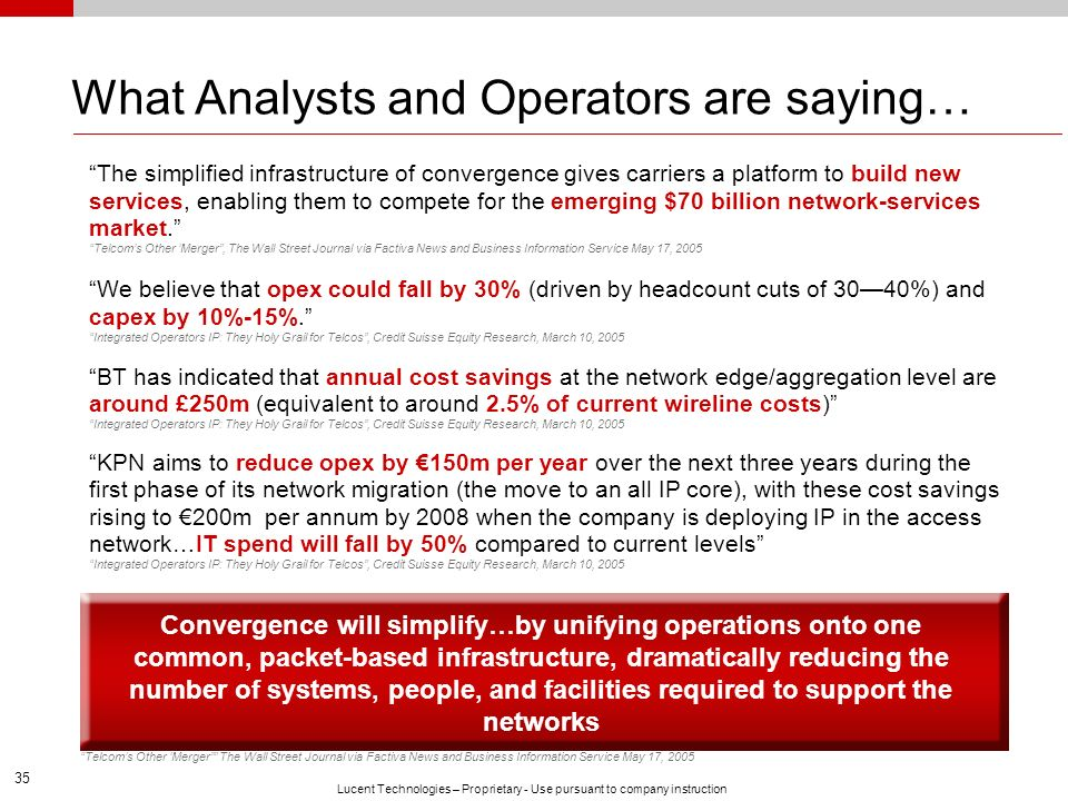 35 Lucent Technologies – Proprietary - Use pursuant to company instruction What Analysts and Operators are saying… The simplified infrastructure of co