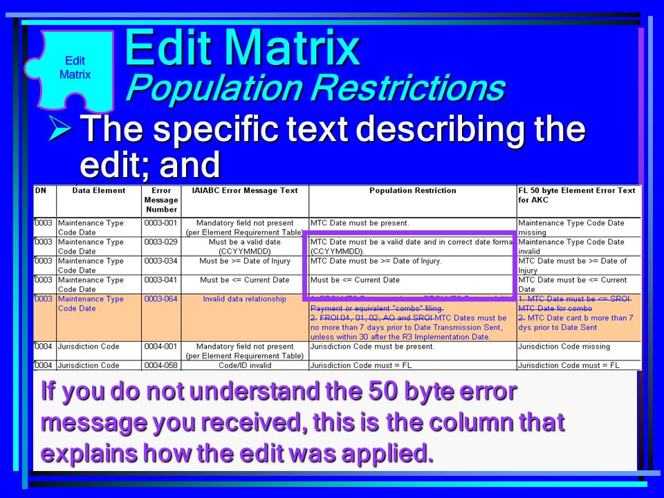 103 Edit Matrix The specific text describing the edit; and The specific text describing the edit; and Population Restrictions If you do not understand