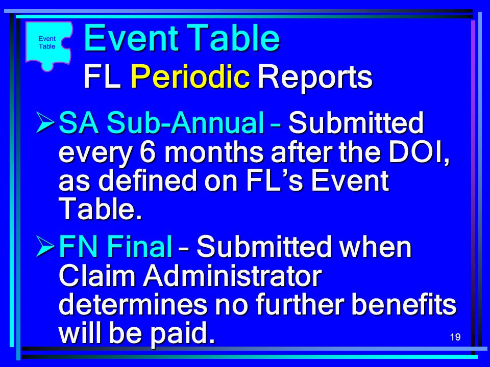 19 Event Table FL Periodic Reports FN Final – Submitted when Claim Administrator determines no further benefits will be paid. FN Final – Submitted whe