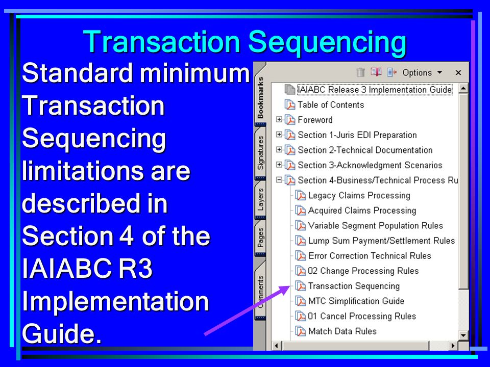 84 Standard minimum Transaction Sequencing limitations are described in Section 4 of the IAIABC R3 Implementation Guide. Transaction Sequencing