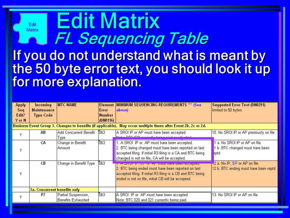 92 If you do not understand what is meant by the 50 byte error text, you should look it up for more explanation. Edit Matrix FL Sequencing Table