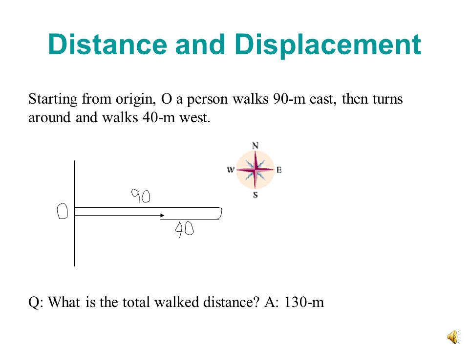 Distance and Displacement Starting from origin, O a person walks 90-m east, then turns around and walks 40-m west. Q: What is the total walked distanc