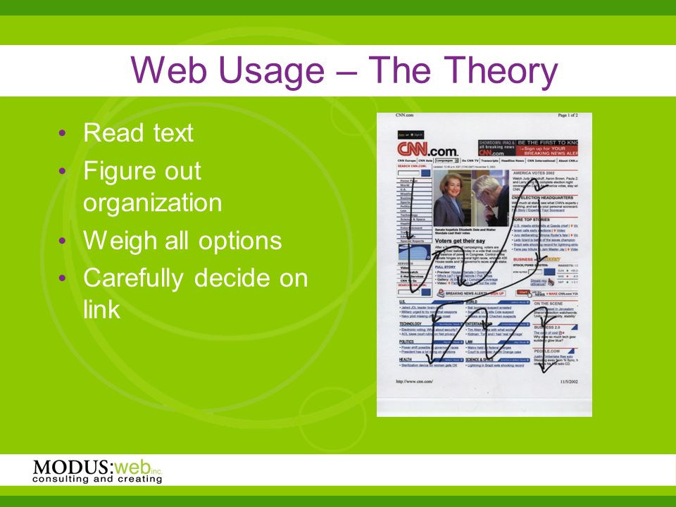 Web Usage – The Theory Read text Figure out organization Weigh all options Carefully decide on link