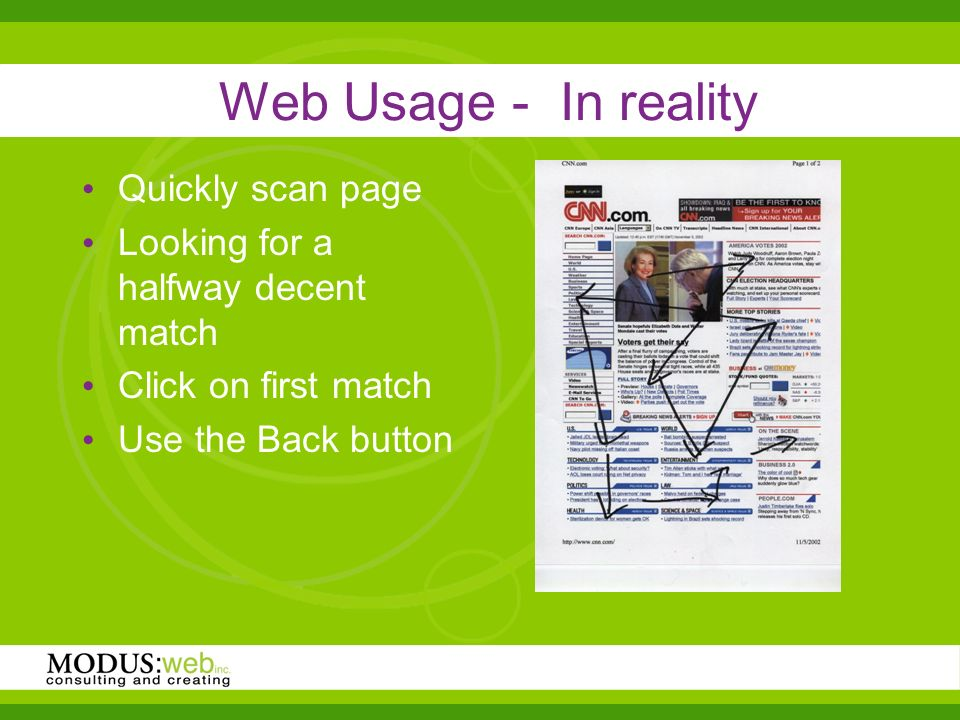 Web Usage - In reality Quickly scan page Looking for a halfway decent match Click on first match Use the Back button