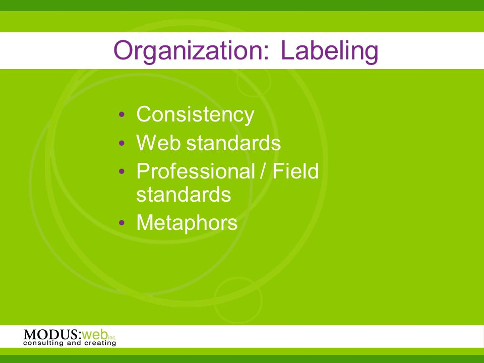 Organization: Labeling Consistency Web standards Professional / Field standards Metaphors