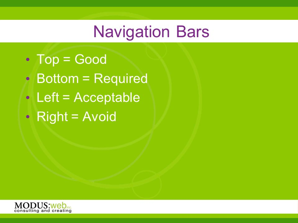 Navigation Bars Top = Good Bottom = Required Left = Acceptable Right = Avoid