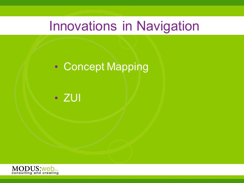 Innovations in Navigation Concept Mapping ZUI