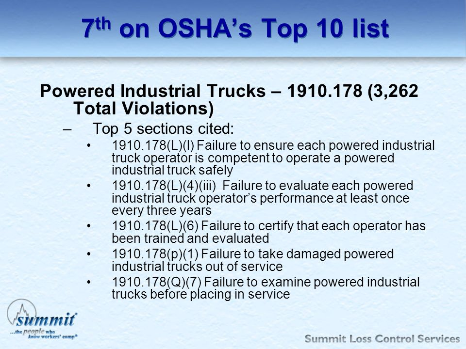 7 th on OSHAs Top 10 list Powered Industrial Trucks – 1910.178 (3,262 Total Violations) –Top 5 sections cited: 1910.178(L)(l) Failure to ensure each p