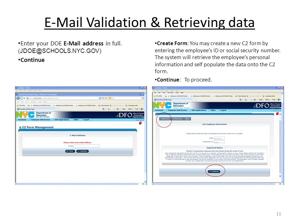 E-Mail Validation & Retrieving data Enter your DOE E-Mail address in full.