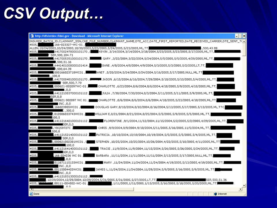 CSV Output…