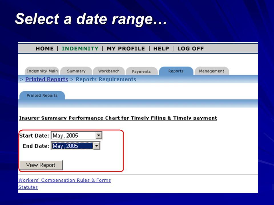 Select a date range…