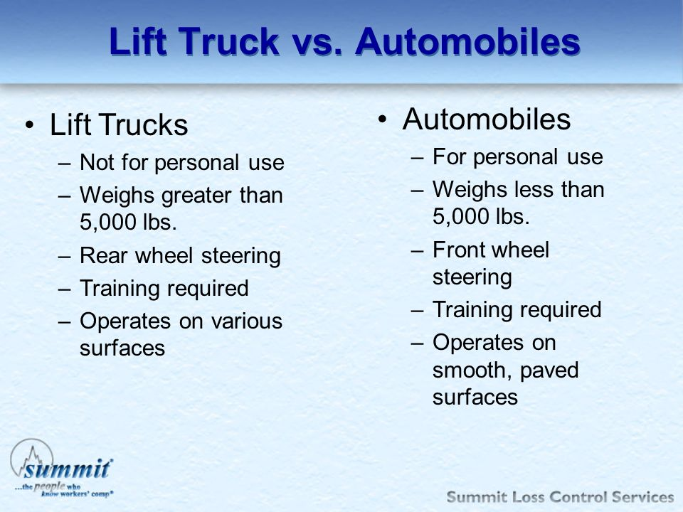 Lift Truck vs. Automobiles Lift Trucks –Not for personal use –Weighs greater than 5,000 lbs. –Rear wheel steering –Training required –Operates on vari