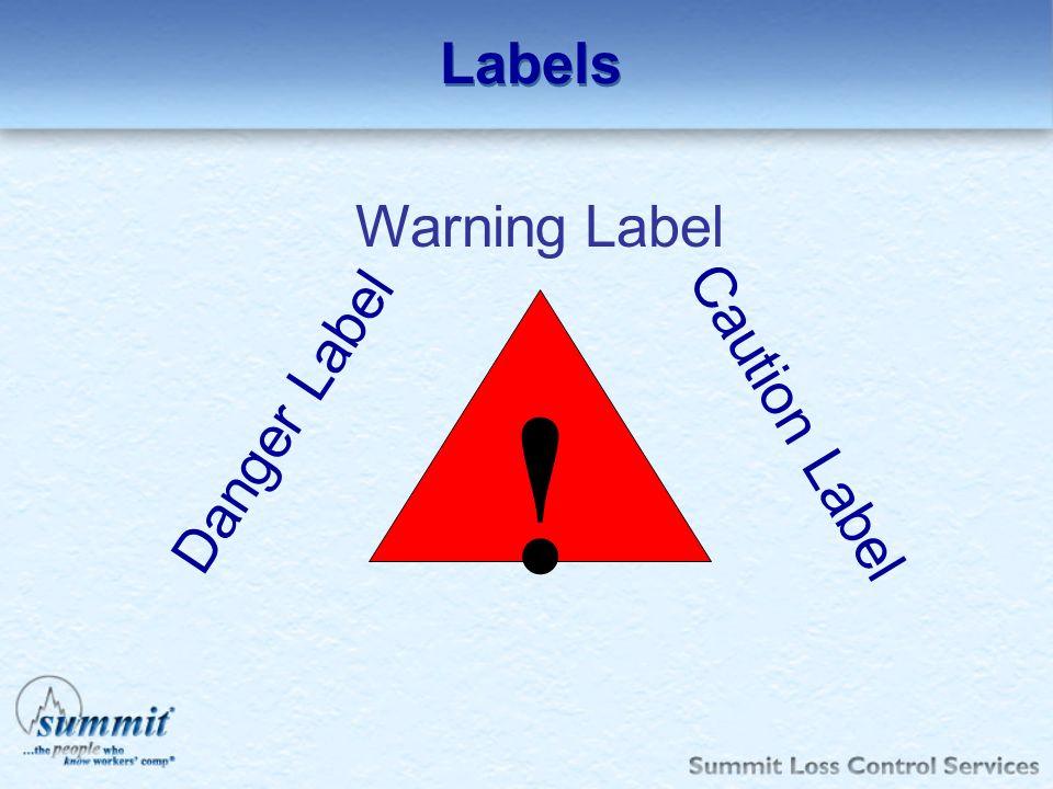 Labels Warning Label ! Danger Label Caution Label