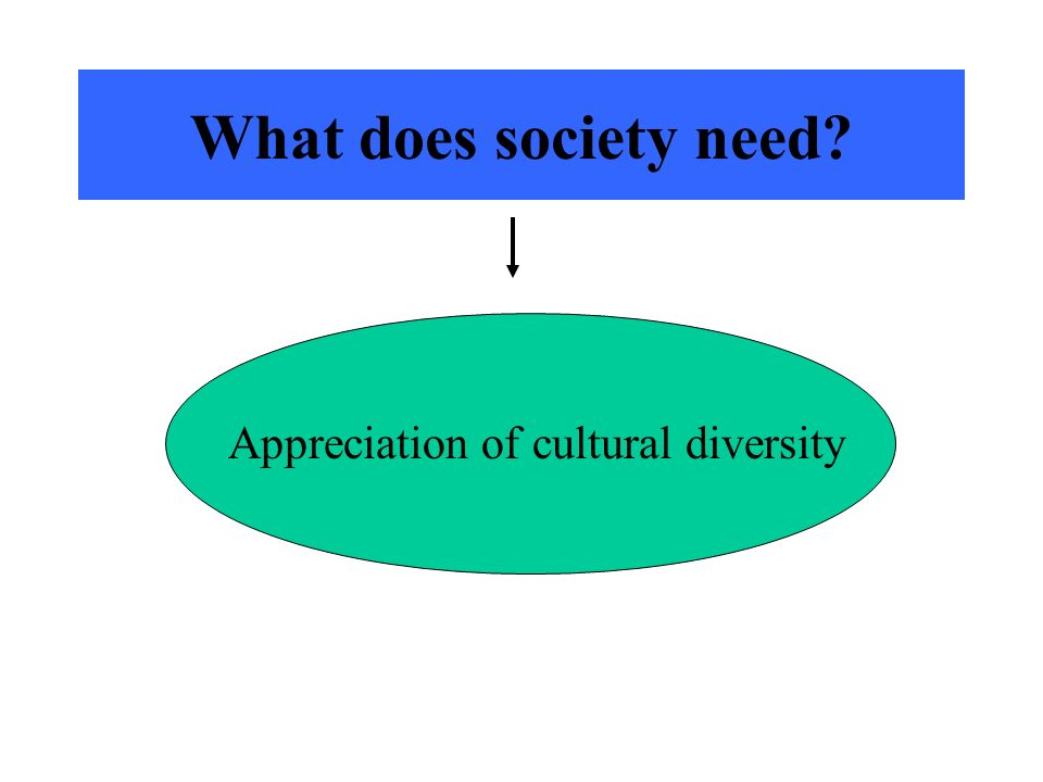 What does society need? Appreciation of cultural diversity