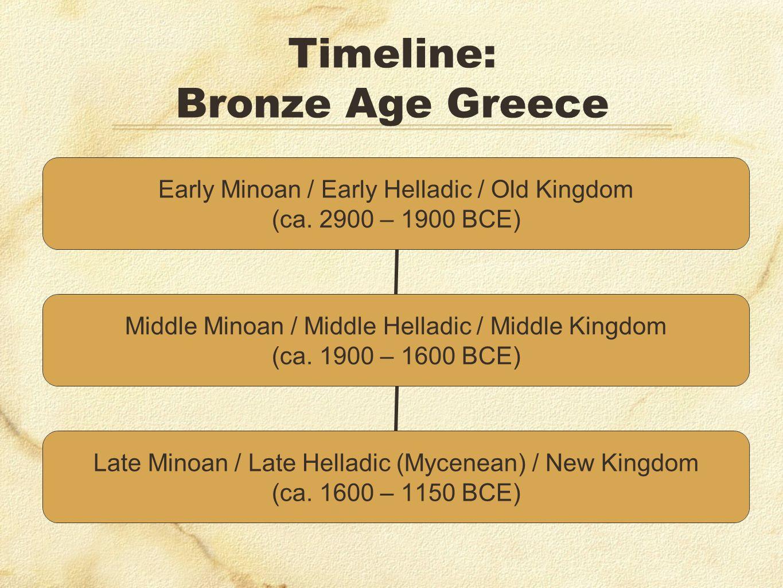 Timeline: Bronze Age Greece Early Minoan / Early Helladic / Old Kingdom (ca. 2900 – 1900 BCE) Middle Minoan / Middle Helladic / Middle Kingdom (ca. 19