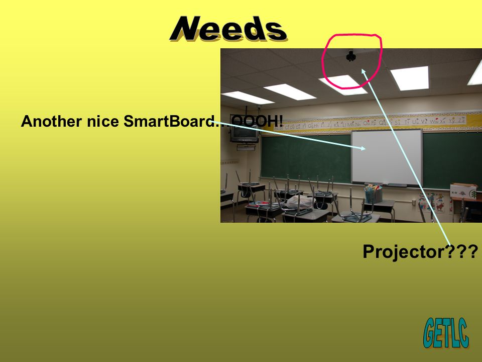 Another nice SmartBoard…OOOH! Projector???
