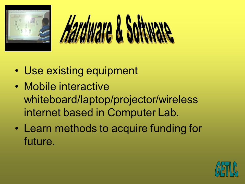 Use existing equipment Mobile interactive whiteboard/laptop/projector/wireless internet based in Computer Lab.