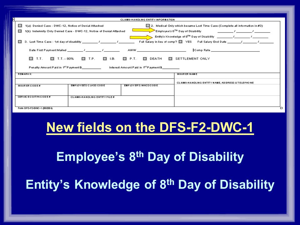 New fields on the DFS-F2-DWC-1 Employees 8 th Day of Disability Entitys Knowledge of 8 th Day of Disability