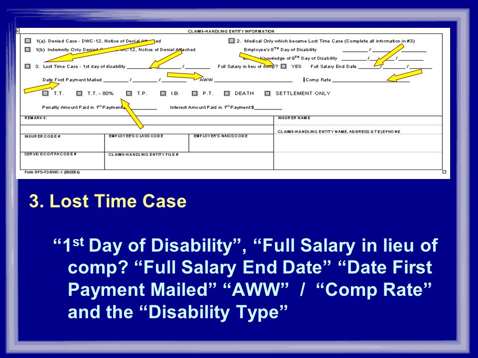 3. Lost Time Case 1 st Day of Disability, Full Salary in lieu of comp? Full Salary End Date Date First Payment Mailed AWW / Comp Rate and the Disabili
