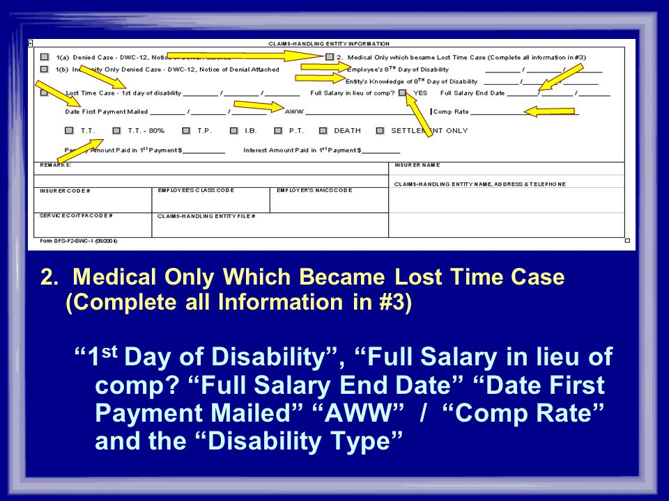 2. Medical Only Which Became Lost Time Case (Complete all Information in #3) 1 st Day of Disability, Full Salary in lieu of comp? Full Salary End Date