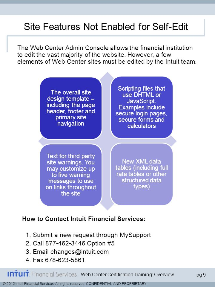 Web Center Certification Training: Overview pg 10 © 2012 Intuit Financial Services.