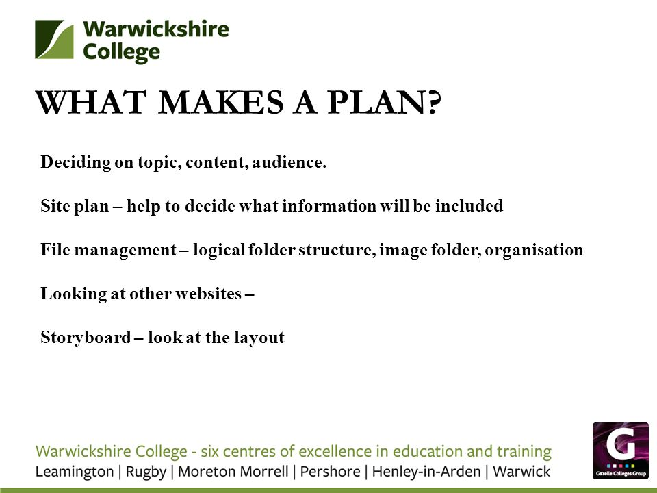 WHAT MAKES A PLAN? Deciding on topic, content, audience. Site plan – help to decide what information will be included File management – logical folder