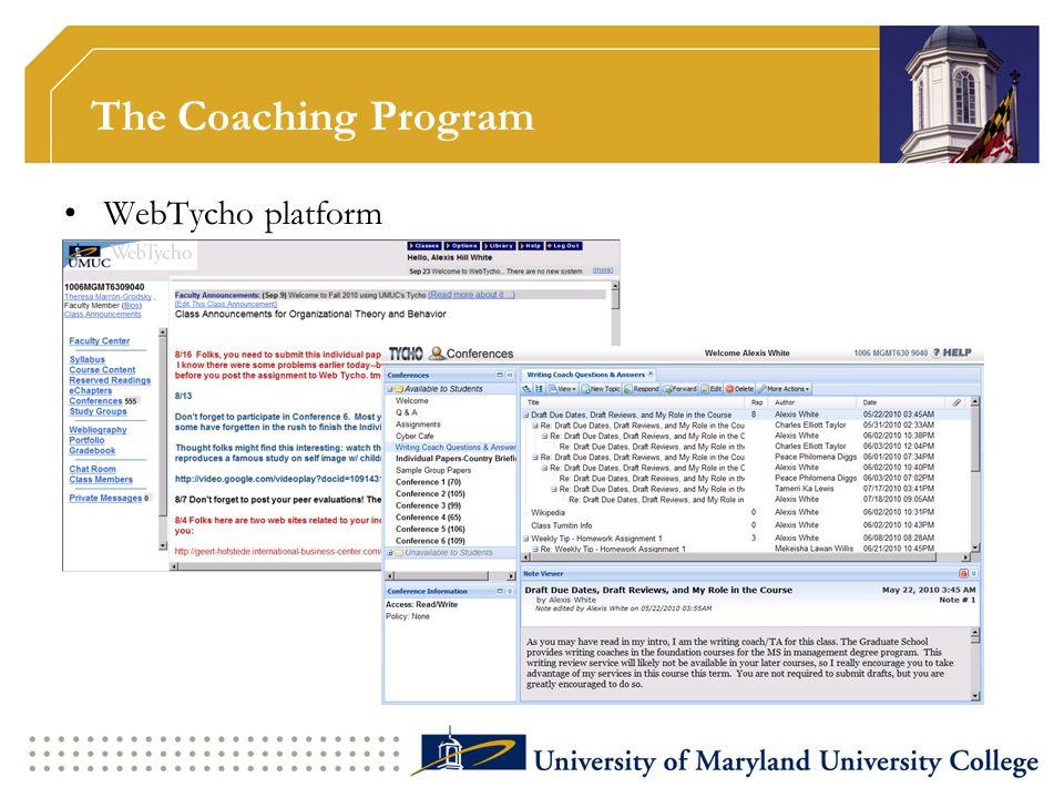 The Coaching Program WebTycho platform