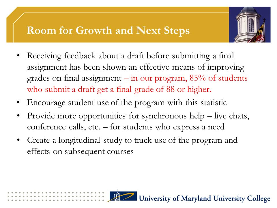Room for Growth and Next Steps Receiving feedback about a draft before submitting a final assignment has been shown an effective means of improving gr