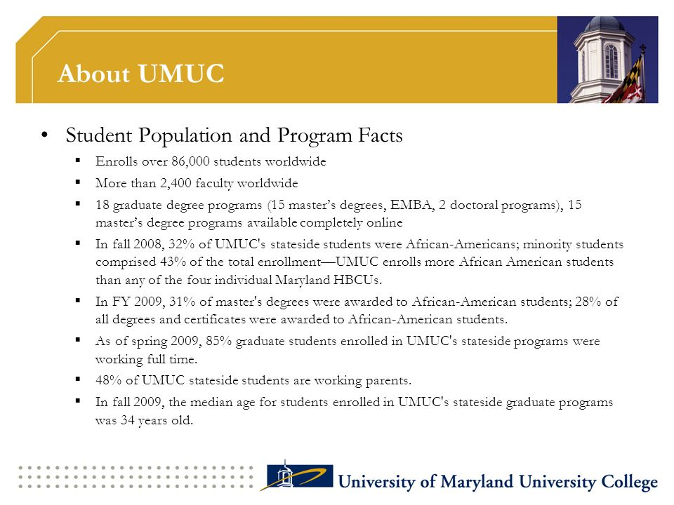 About UMUC Student Population and Program Facts Enrolls over 86,000 students worldwide More than 2,400 faculty worldwide 18 graduate degree programs (