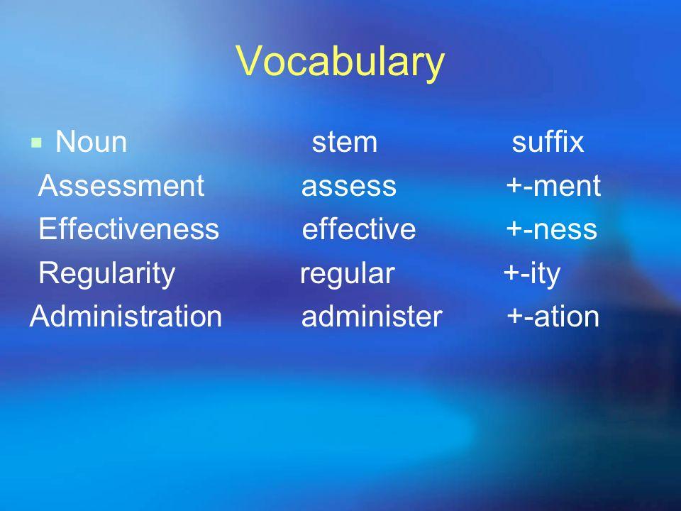 Vocabulary Noun stem suffix Assessment assess +-ment Effectiveness effective +-ness Regularity regular +-ity Administration administer+-ation