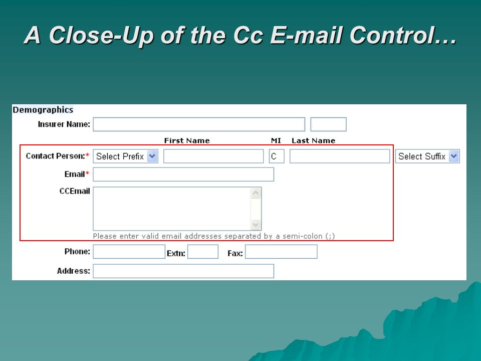 A Close-Up of the Cc E-mail Control…