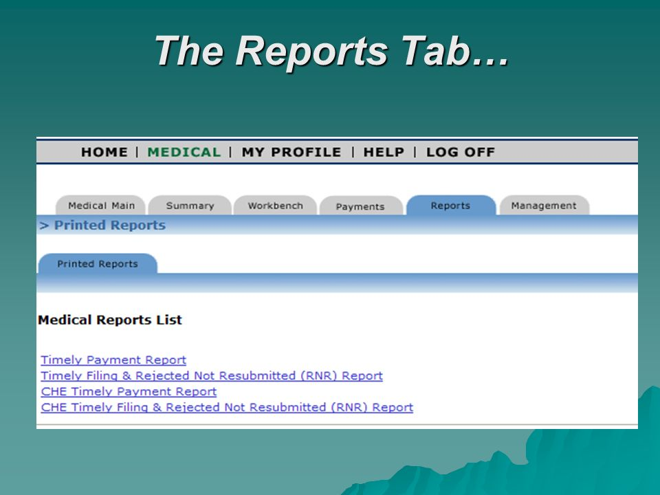The Reports Tab…