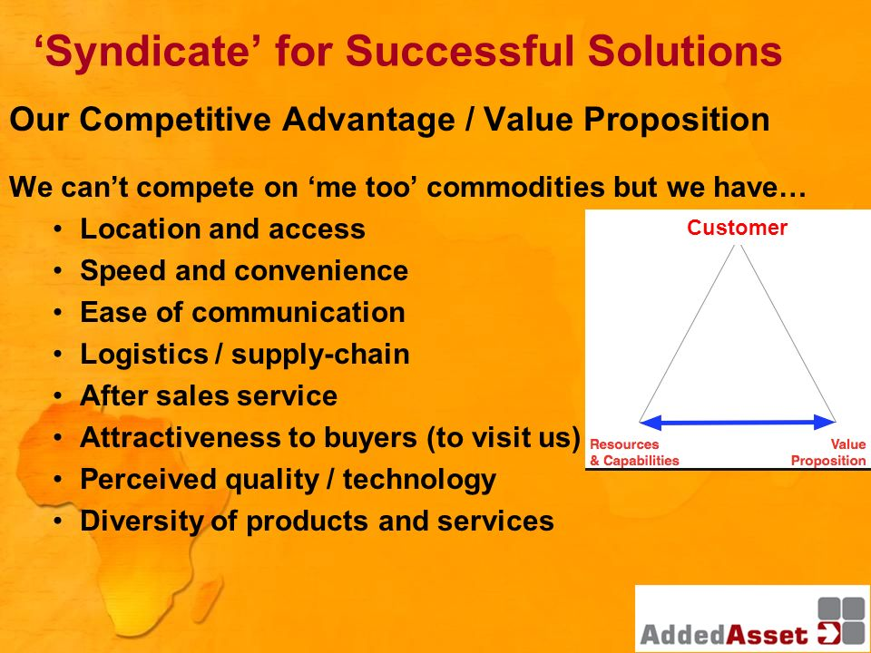 Our Competitive Advantage / Value Proposition We cant compete on me too commodities but we have… Location and access Speed and convenience Ease of com